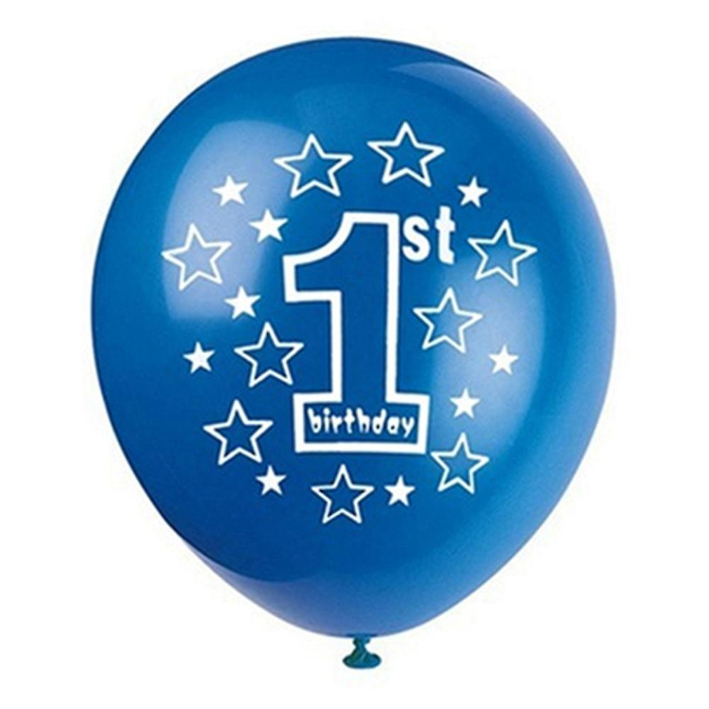 TRIXES 1ST Birthday Balloons for Baby Boy 15 Blue and White with Silver Ribbon