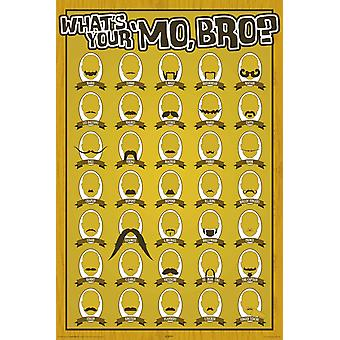 Poster - Mustaches - Whats Your Mo Bro? Wall Art Licensed Gifts Toys 241059