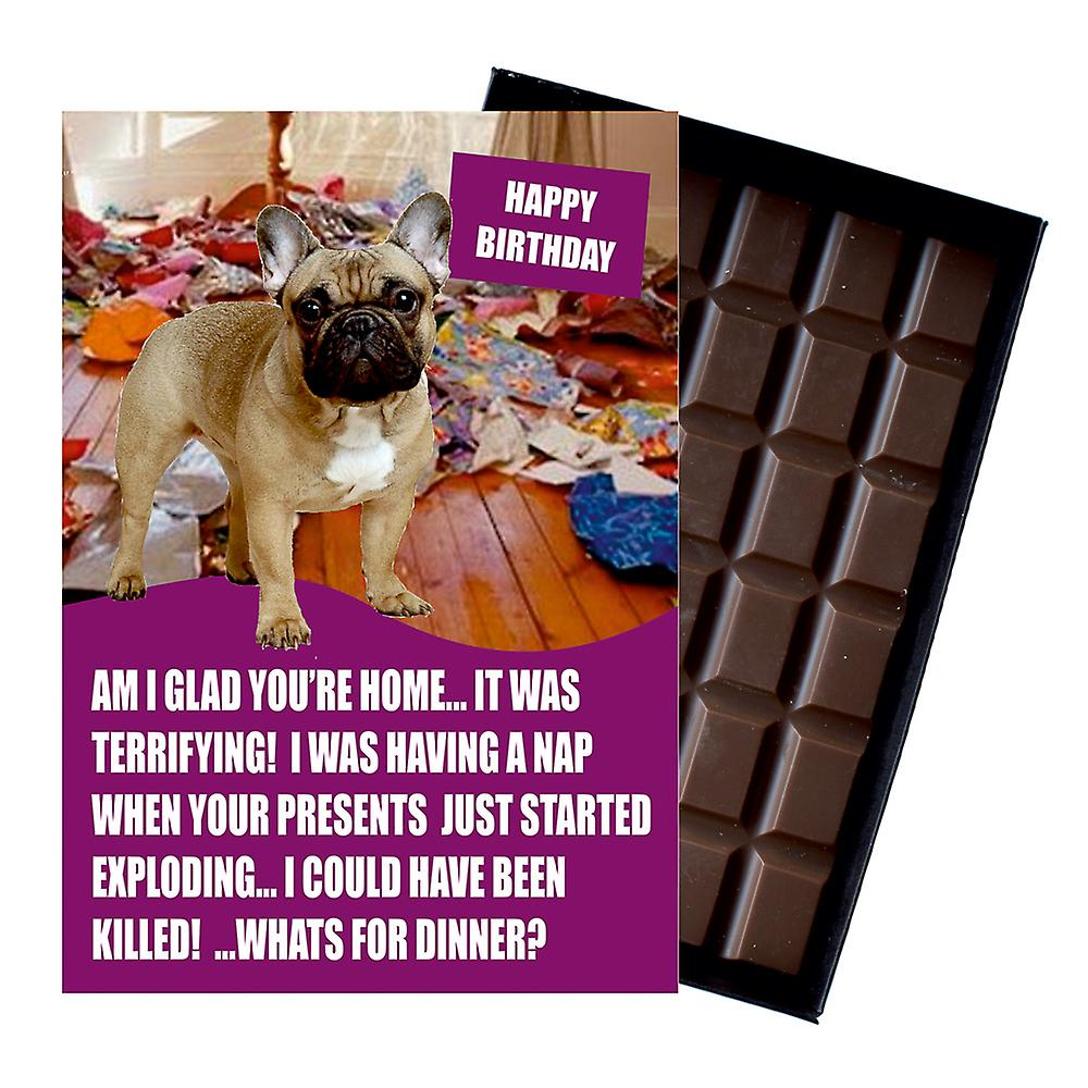 French Bulldog Funny Birthday Gifts For Dog Lover Boxed Chocolate Greeting Card Xmas Present