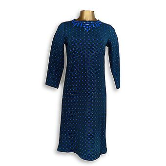 C. Wonder Dress XXS Jacquard Knit 3/4 Sleeve with Beading Blue A281813