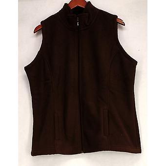 Sport Savvy Women's Fleece Zip Front w/ Pockets Brown Vest A209485