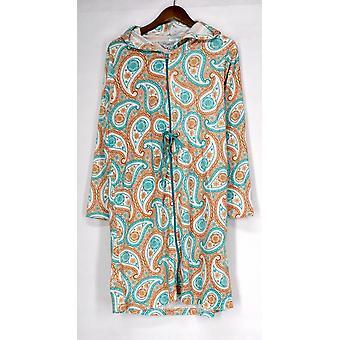 Cozelle Terry Velour Drawstring Robe Paisley Orange / Blue g412498