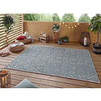 Design In- und Outdoor Teppich Choy Azurblau Taupe