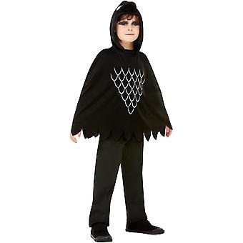 Creepy Crow poncho huppu lasten musta lasten puku