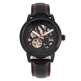 Reign Rudolf Automatic Skeleton Leather-Band Watch - Black/Red