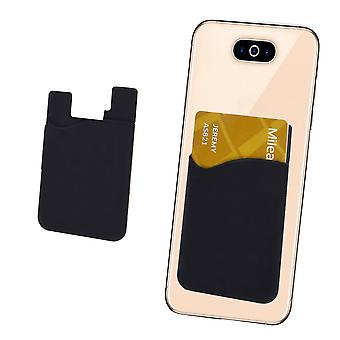 Silicone Credit / Debit Card Pouch For Oppo A3s Device Wallet Holder Stick On Adhesive (Black)