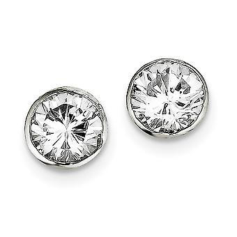 925 Sterling Argent Solid Polished Post Boucles d'oreilles 9mm CZ Cubic Zirconia Simulated Diamond Round Bezel Stud Boucles d'oreilles Jewel