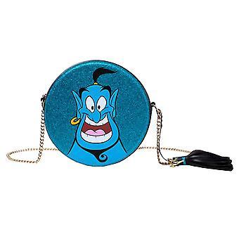 Aladdin Spalla Borsa Aladdin Genie Round Glitter nuovo ufficiale Disney Blue