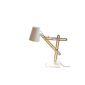 Mantra Looker Table Lamp 1 Light E27, Matt White/Beech