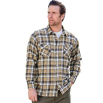 Pegasus Mens Long Sleeve Pegasus Brushed Cotton Check Shirt
