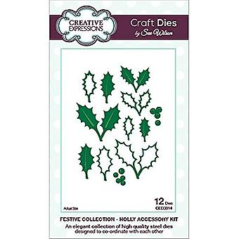Creative Expressions Festive Collection - Holly Accessory Die Set by Sue Wilson - CED3014
