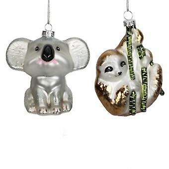 Widdop Gifts Koala & Sloth Glass Baubles | Handpicked Gifts