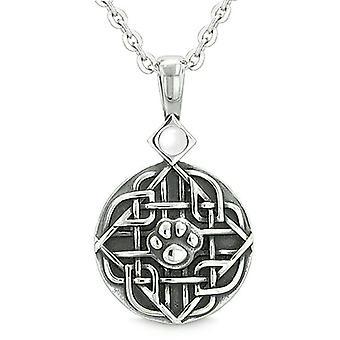 Amulette celte bouclier noeud bébé loup ou patte de chat chats blanc Eye Protection pouvoirs Collier pendentif