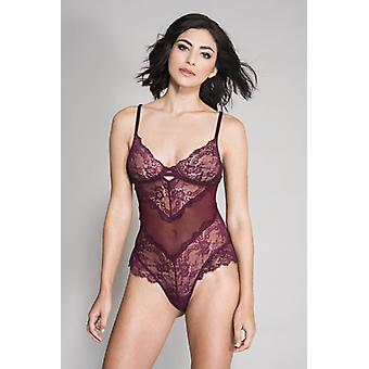 Floral Lace And Fishnet Body-Red
