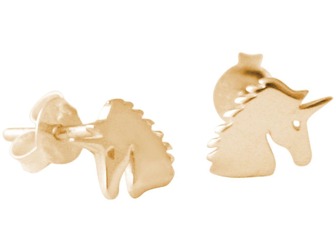 GEMSHINE Ohrstecker EINHORN 925 Silber, vergoldet oder rose