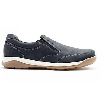 Padders Mendip Mens Leather Wide (g Fit) Slip On Shoes Navy