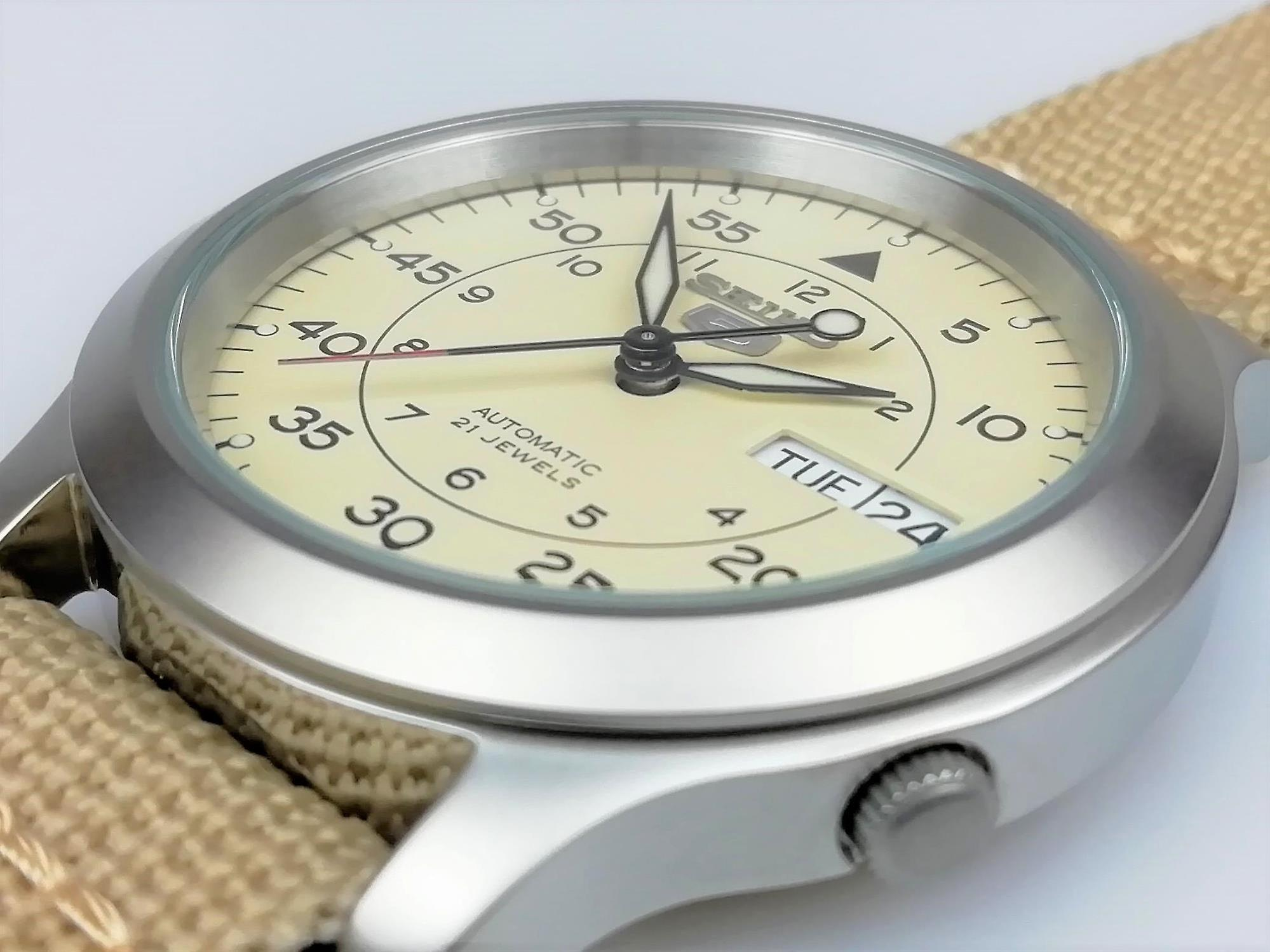 Seiko 5 Automatic Beige NATO Military Style Strap Men's Watch SNK803K2 RRP £169