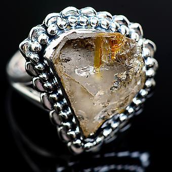 Ru rutilated Quartz 925 sterling sølv ring størrelse 8,25-håndlavede Boho vintage smykker RING980272