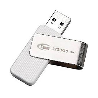 Team Group Usb Drive 32Gb C143 Usb 3 White And Silver Rotating Capless