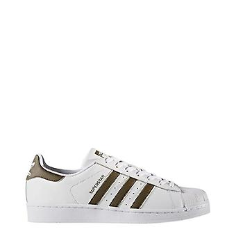 Adidas - superstar sneakers, white + brown
