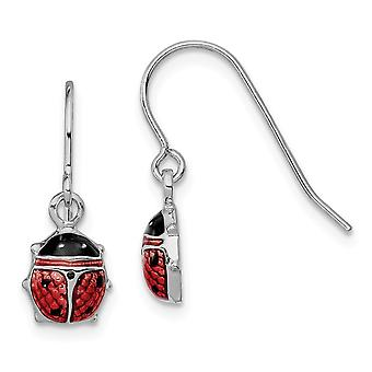 925 Sterling Silver Polished Shepherd hook Rhodium Enameled Lady Bug Long Drop Dangle Earrings Jewelry Gifts for Women