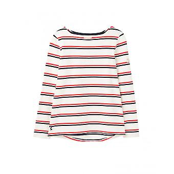 Joules Harbour Womens Long Sleeve Jersey Top - Cream Red Blue Stripe