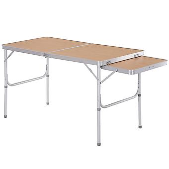 Outsunny Portable Extending Picnic Table Aluminium Frame Folding Table w/ MDF Top Adjustable Height Foot Pads Outdoor Festival BBQ Camping 70x120cm
