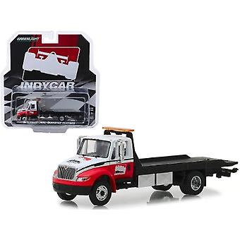 International Durastar Flatbed Truck White And Red Indycar Series Hobby Exclusive 1/64 Diecast Model By Greenlight