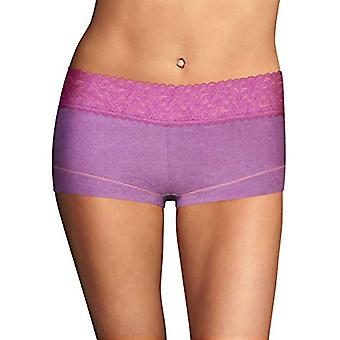 Maidenform Women's Dream Cotton with Lace Boy Short,, Razzleberry, Size 5.0