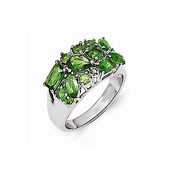 Cheryl M 925 Sterling Silver Glass Simulated Emerald Ring Jewelry Gifts for Women