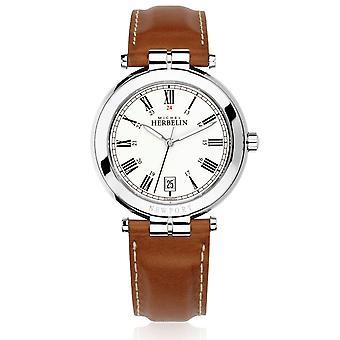 Michel Herbelin 12254-AP01GO Men's Newport Brown Strap Wristwatch