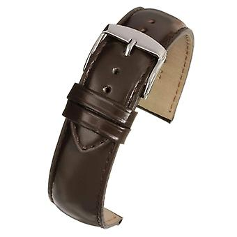 Calf leather watch strap brown gloss superior grade