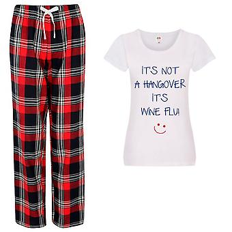 Ladies It's Not A Hangover It's Wine Flu Tartan Trouser Pyjamas
