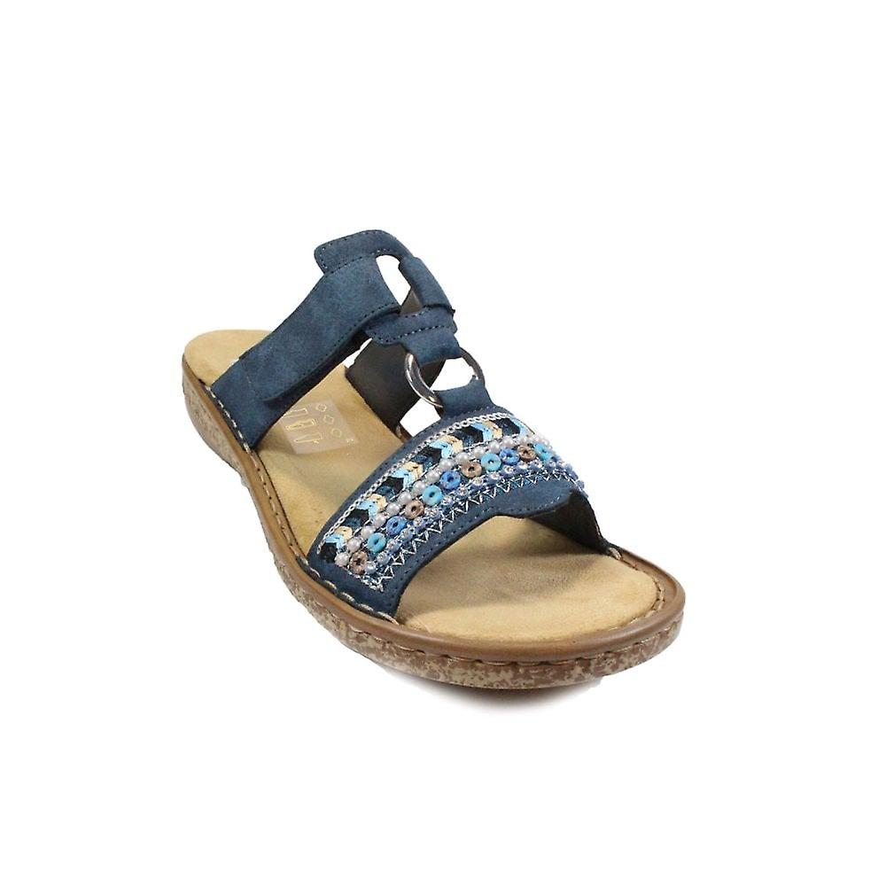Rieker 628M6-14 Navy Womens Slip On Mule Sandals
