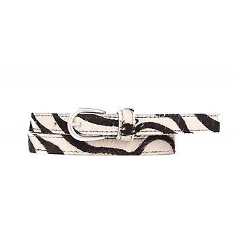 Narrow Hip Leather Cow Skin Children's Belt - Zebra White
