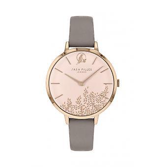 Sara Miller SA2030 Women's Rose Gold Tone Leaf Design Grey Strap Wristwatch