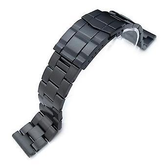 Strapcode Uhr Armband 19mm, 20mm oder 21mm super Oyster Watch Band gerade Ende, pvd schwarz, solide U-Boot-Verschluss