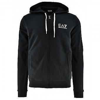 EA7 Emporio Armani Black Zip Up Hoody Sweatshirt 3HPM24 PJ05Z