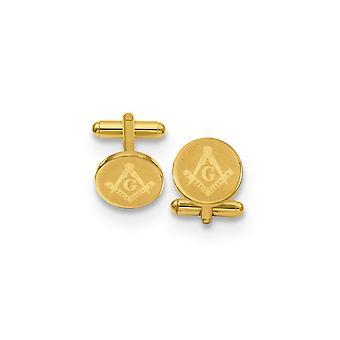 14k Guldpläterad solid polerad mönstrad inte graverbar rund masonisk manschett länkar smycken gåvor för män