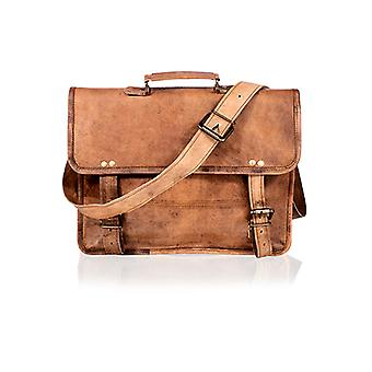 Woodland Leather Tan Vintage Satchel Briefcase Plain Front 15.0
