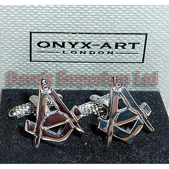 Masonic Square & Compass Cufflinks by Onyx Art - Gift Boxed - Highly Detailed