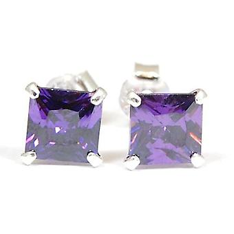 Olivia kokoelma sterlinghopea Purple Princess Cut Stud korvakorusta