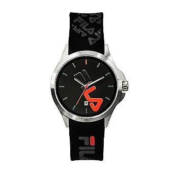Assista Fila 38-181-007 - Quartzo com data de aço inoxidável redonda caixa preto dial black silicone pulseira em silicone Homens / Mulheres