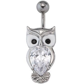 Belly button Piercing owl stainless steel with enamel insert and SWAROVSKI® ELEMENTS