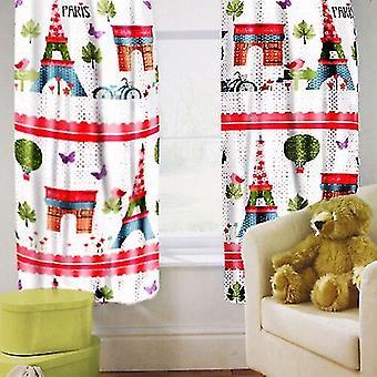 """Ready Steady Bed Children's Printed Curtains Paris Design met Tiebacks. Grootte: 66"""" x 54"""""""