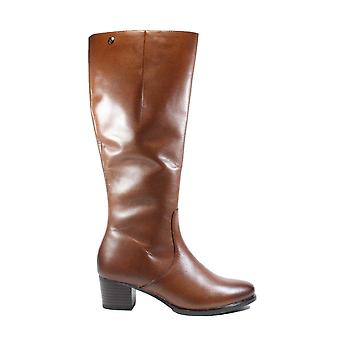 Caprice 25519 Tan Leather Womens Heeled Long Leg Boots