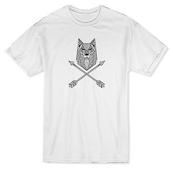 交差矢印メンズ t シャツを持つ部族オオカミ