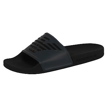 Emporio armani men's black and grey sliders