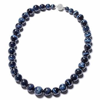 Blauwe Tiger Eye Kralen Ketting in Rhodium over zilver met magnetisch slot TJC
