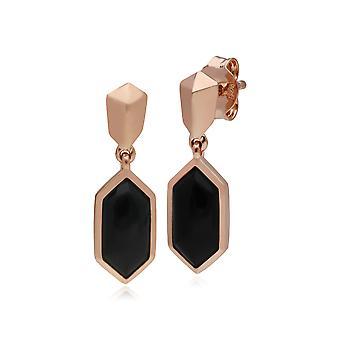 Micro Statement schwarz Onyx Tropfen Ohrringe in Rose vergoldet 925 Sterling Silber 270E029101925